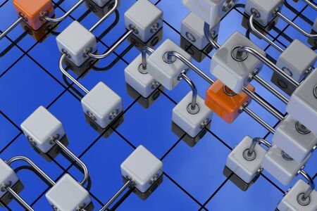 3D rendered illustration of cubes on the blue sky background Stock Illustration - 14383006