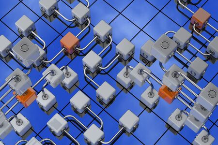 3D rendered illustration of cubes on the blue sky background