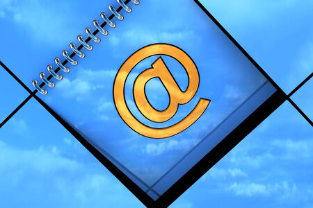 Blue background with email symbol available for background Stock Photo - 14383005