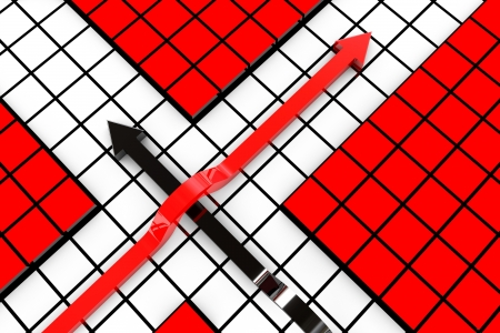 3D render of red and white arrows
