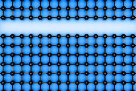 Abstract black atomic grid on the blue background