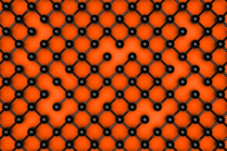 Abstract black atomic grid on the orange background.