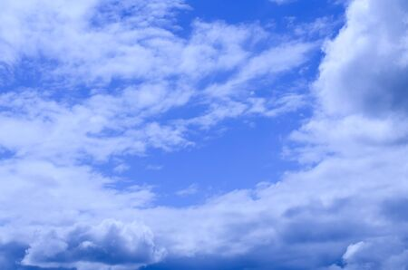 Clean blue sky and various cloud formations picture.