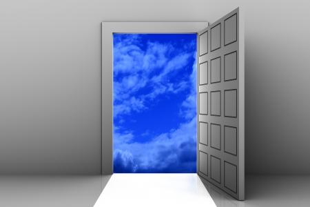 Open door from empty space to heaven. Stock Photo
