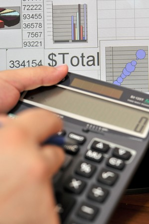 future earnings: calculater Stock Photo