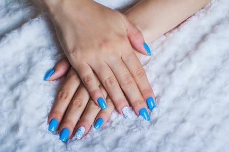 nailart: Light blue nail art on white clothes