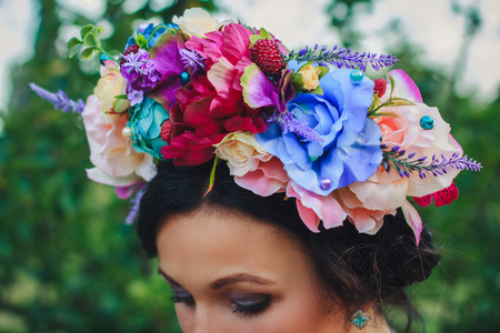 coronet: Young attractive woman with coronet of flowers Stock Photo