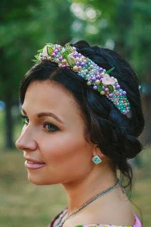 coronet: Young attractive woman with coronet of beads Stock Photo
