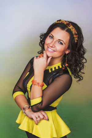 coronet: Attractive woman with coronet of beads in autumn style