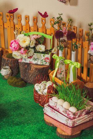 small garden: Easter decorated studio like small garden