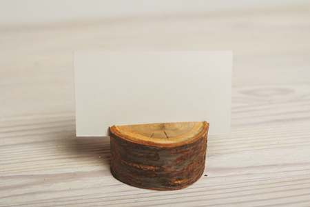 card holder: Rustic background with wooden card holder and place for text