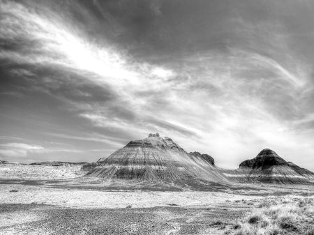 grandeur: Geological formations in black and white in the wild southwest US in Petrified Forest National Park