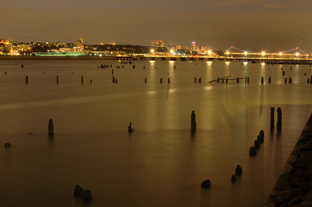 hudson river: Panoramic view of the Hudson River and New Jersey in a summer night from Manhattan in New York City in the USA
