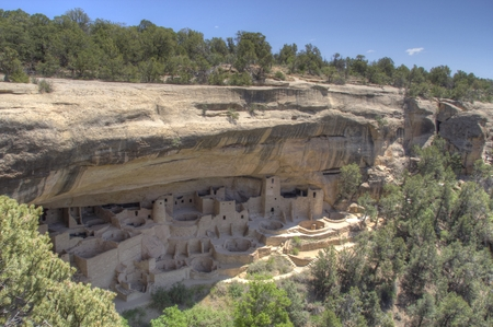 anasazi: Front view of the dwellings at Mesa Verde National Park in Colorado