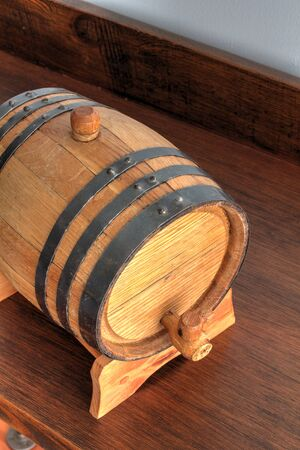 Small and typical wooden barrel with metal surrounding Stok Fotoğraf