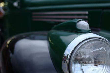shiny car: closeup of a retro vintage old car with shiny metallic parts Stock Photo