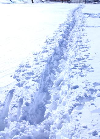 Straight footpath in snow 免版税图像
