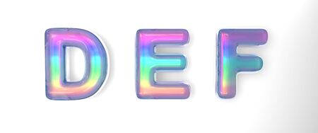 3D text of the letter d, e, f in the style of soap bubbles with a rainbow tint on a white background with shadow.