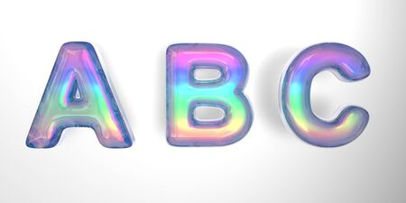 3D text of the letter a, b, c in the style of soap bubbles with a rainbow tint on a white background with shadow.