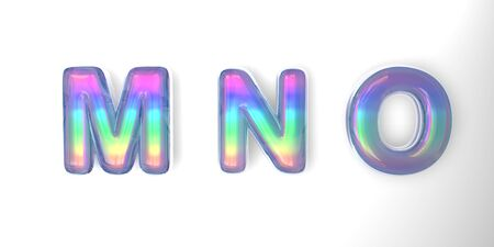 3D text of the letter m, n, o in the style of soap bubbles with a rainbow tint on a white background with shadow.