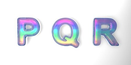 3D text of the letter p, q, r in the style of soap bubbles with a rainbow tint on a white background with shadow.