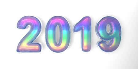 3D text of the letter 2019 year in the style of soap bubbles with a rainbow tint on a white background Фото со стока