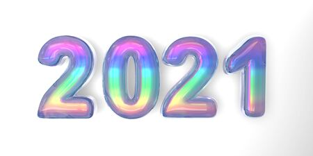 3D text of the letter 2021 year in the style of soap bubbles with a rainbow tint on a white background