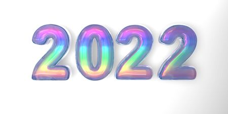 3D text of the letter 2022 year in the style of soap bubbles with a rainbow tint on a white background
