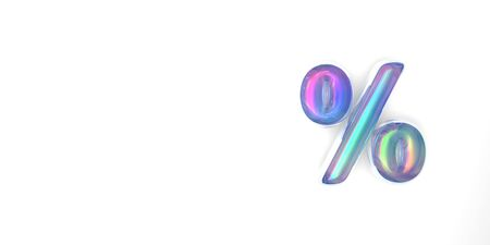 percent or discount sign written in 3D rainbow text in bubble style on a white background. isolate Фото со стока