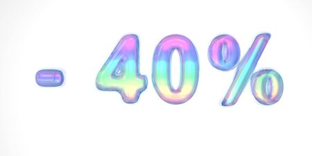 3D text of the letter -40 sale in the style of soap bubbles with a rainbow tint on a white background