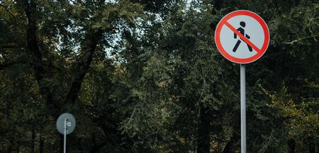 prohibition sign white with red on a background of leaves. prohibiting pedestrian sign. no passage.