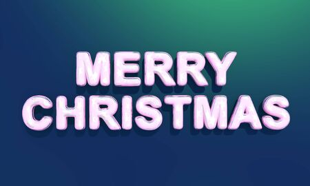 Merry Christmas . Festive 3D illustration of letters made of colored neon pink glass with silver stars inside on a blue-green chameleon gradient background. Realistic 3d sign.