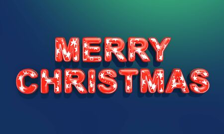 Merry Christmas . Festive illustration of 3D letters of colored red glass with silver stars inside on a blue-green chameleon gradient background. Realistic 3d sign.