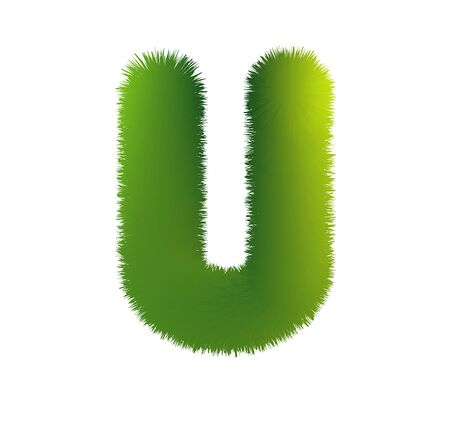 Letter U. Furry vector font made of fir branches for the new year.