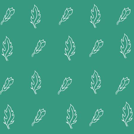 Seamless pattern - sketch white leaves and flower buds on a green background. vector graphics