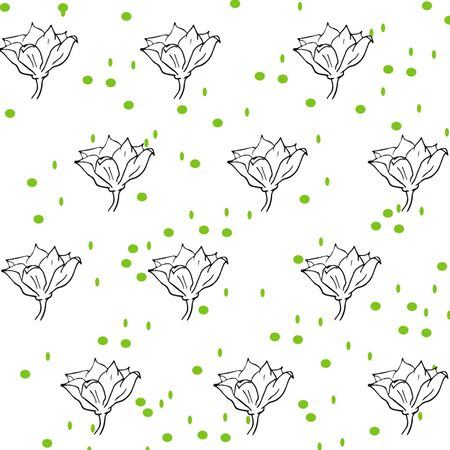 seamless background - sketch black leaves, flowers and flower buds on a white background with green specks. vector graphics,