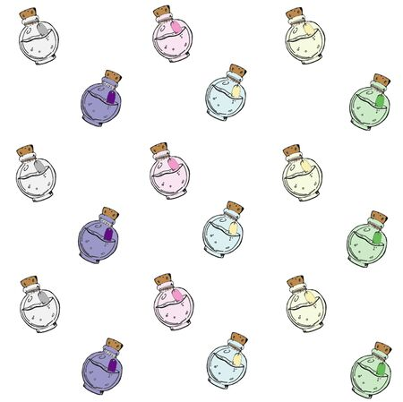Texture with hand-drawn colored bottles with different potions. Vector background