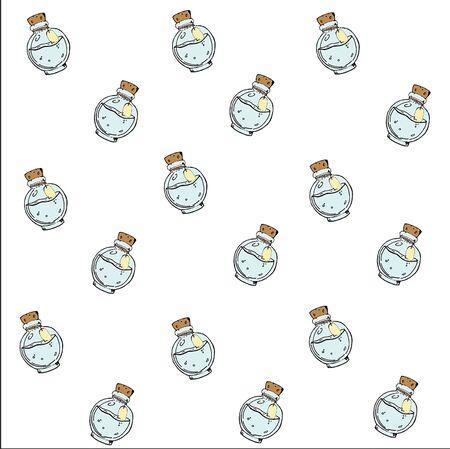 Texture with freehand pattern of potion bottle. Vector background Ilustração