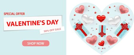 Valentine s day sale background. Romantic composition with hearts, beads and a box with a gift. Vector illustrations for website, posters, advertising, coupons