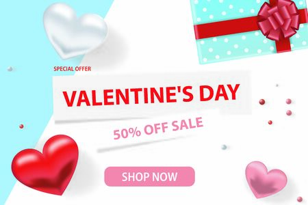 Valentine s day sale background. Romantic composition with hearts, beads and a box with a gift. Vector illustrations for website, posters, advertising, coupons, promotional materials.