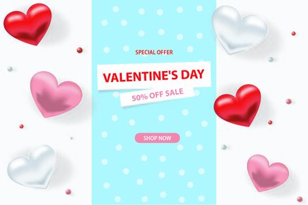 Valentine s day sale background. Romantic composition with hearts, beads. Vector illustrations for website, posters, advertising, coupons Illusztráció