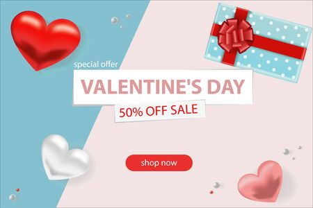 1Valentine s day sale background. Romantic composition with hearts, beads and a box with a gift. Vector illustrations for website, posters, advertising, coupons Illusztráció
