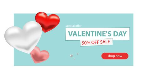 Valentine s day sale background. Romantic composition with hearts and beads. Vector illustrations for website, posters, advertising, coupons, promotional materials.