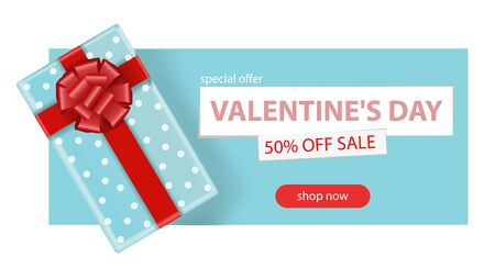 Valentine s day sale background. Romantic composition with a box with a gift. Vector illustrations for website, posters, advertising, coupons, promotional materials.