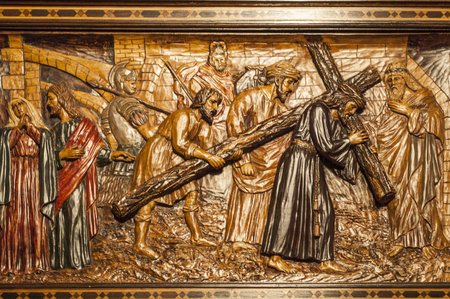 Detail of the wood carving of a scene of the passion of Christ of the float of Christ of the brotherhood of