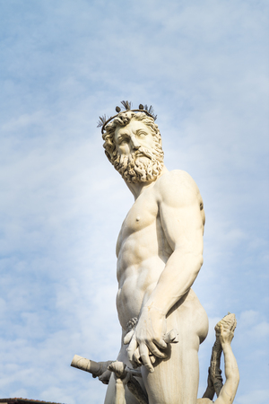 Sculpture of Neptune belonging to the sculptural group of the Fountain of Neptune on Piazza della Signoria in Florence. Redakční