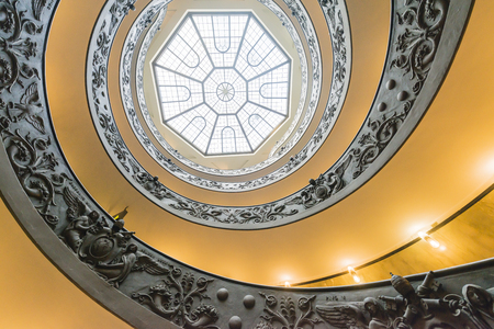 Bottom view of Bramantes spiral staircase in the Vatican Museums