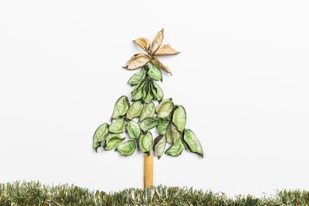Christmas tree made with plant material on white background.