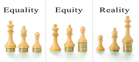 Photo montage with two conceptual photographs with chess pieces and coins showing the concepts of equality and equity. Stock Photo