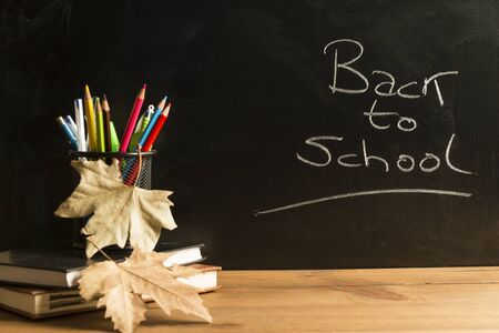 Books, notebooks, a pencil holder with pencils, pens and various school supplies, and some autumn leaves on wooden boards with a blackboard in the background with the phrase back to school written in chalk. Concepts of back to school, education and childhood.